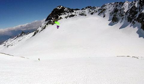 Montée au Pic de l'étendard, vue sur le Glacier de St Sorlin en contre-bas