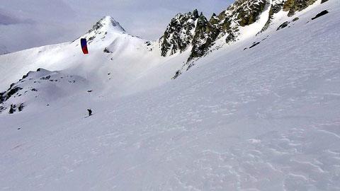 snowkite au Grand Galibier /tête noire
