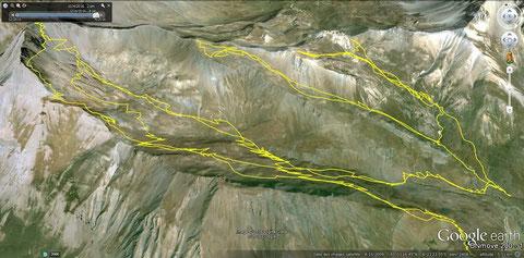 La montée aux Evéchés est la trace GPS de gauche