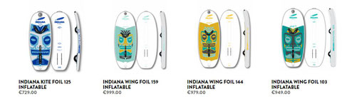 Gamme boards de wing gonflables Indiana