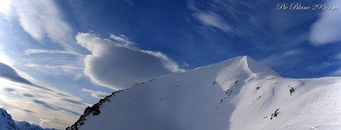 snowkite au Pic Blanc / photo Eric Moz, avec Ludo Arnaud/Laurent Hemard