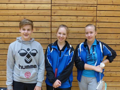 Die Teilnehmer des 1. Rendsburger BC´s:  Jarne Vater, Luisa Leischner, Laura Dammann (v.l.n.r.)
