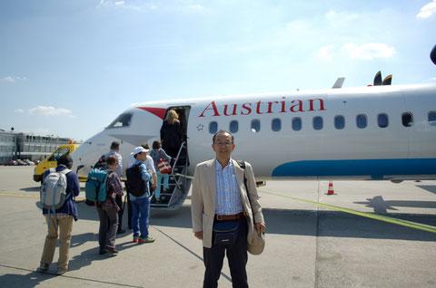 経由地ウィーンへの航空機もオーストリア航空のプロペラ機