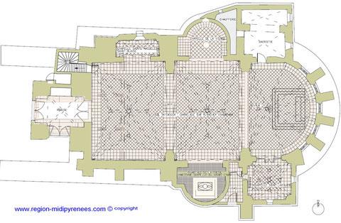 Plan de l'Eglise Saint-Pierre de Blagnac - www.region-midi-pyrenees.com ©