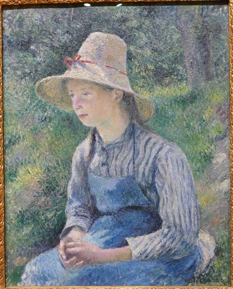Camille Pissarro : jeune paysanne au chapeau de paille, 1881