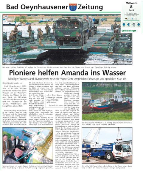 Bericht des Oeynhauser Anzeiger vom 08.06.2011