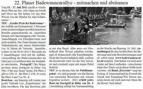 Plauer Zeitung Nr. 2 | 16.02.2011 | Jahrgang 115