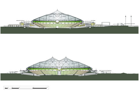 Разрезы стадиона.