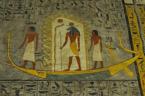 Роспись стен гробницы в Долине царей.