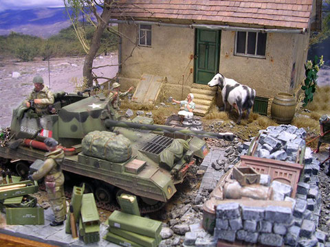 Der Jagdpanzer nutzt die Straßensperre als vorbereite Feuerstellung.