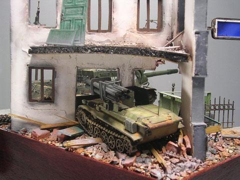 Die Wanze nutzt nun das Trümmerhaus als Deckung und hat mit ihrem Hinterhalt ein lohnendes Opfer gefunden.