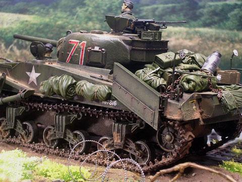 Diese Version des Sherman Crab verfügte über Signaleinrichtungen und Markierungsgerät für die geräumte Minengasse.