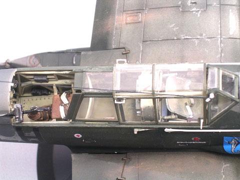 Das MG ist auf einem drehbarem Gelenk gelagert, so daß der Schütze jeweils an dem Seitenruder nach hinten vorbei schiessen kann.