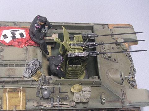 Typisch Truppenumbau: ein Stug-MG-Schutzschild als Visierschutz.