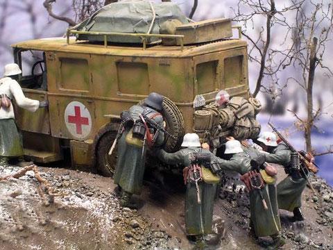 Sanitäter und Grenadiere müssen aussteigen und schieben..