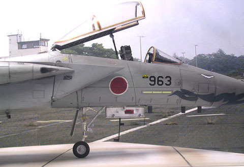Das filigrane Bugfahrwerk und die 20mm Bordkanone in der Flügelwurzel.