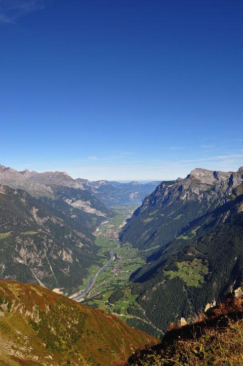 Blick über das Urner Reusstal, im Hintergrund der Urnersee (NS)