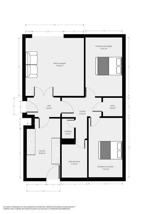 Appart'Perrin, 72 m², 2 chambres