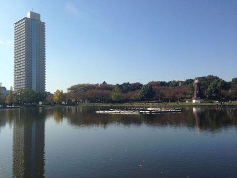 写真:企業活性化センターの入るアイタワーと、目の前に広がる都立浮間公園
