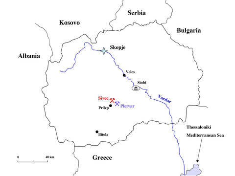 The location of the quarries of Sivec marble in Macedonia close to the town of Prilep.