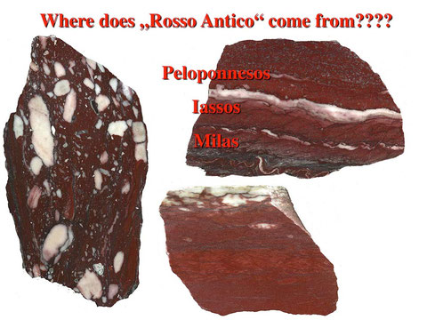 Different petrographic types of Rosso Antico.