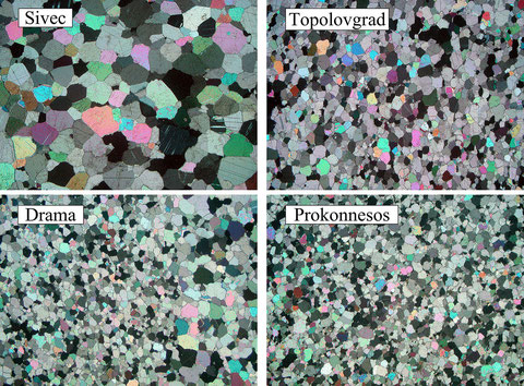 Microphotos of different fine-grained dolomites. Image length in all cases is 7 mm (polarized light).