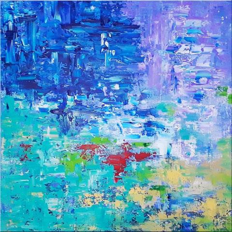 "Modernes abstraktes Gemälde ""Tagtraum"" 80x80cm, Acryl auf Leinwand, in blau, türkis, sand, stahlblau, weiss, violett"