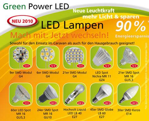 Green Power LED bei www.campingundfreizeitmarkt, Eine Übersicht der LED Lampen mit bis zu 90 Prozent Energieersparnis
