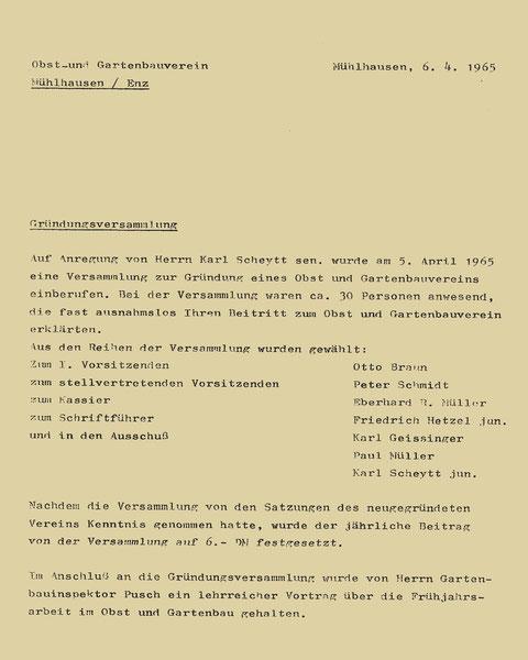 Gründungsprotokoll vom 6.April 1965