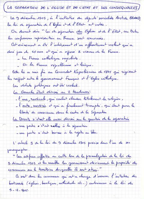 Texte d'Yvon Bugaret, séparation des églises et de l'état