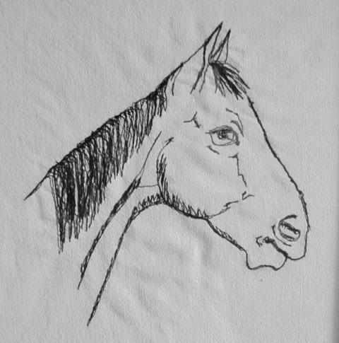 """Pferdekopf, auf Leinenstoff vorgezeichnet und dann mit der Nähmaschine """"gemalt"""""""