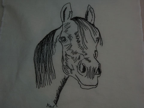 """Pferdekopf Araber"", genähmaltes Bild"