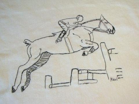 Genähmaltes Bild eines Springreiters, ca. 30 x 40cm