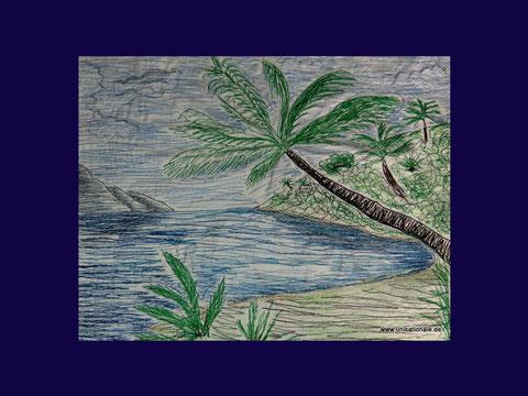 "Genähmaltes Bild ""Palmen"""