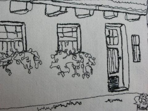 Altes Bauernhaus genähmalt, 9 x 13cm