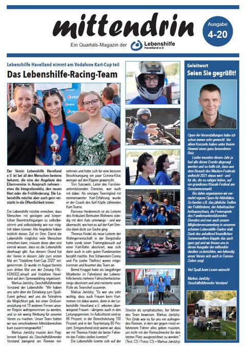 """Die neueste Ausgabe unserer Vereinszeitung """"mittendrin"""""""
