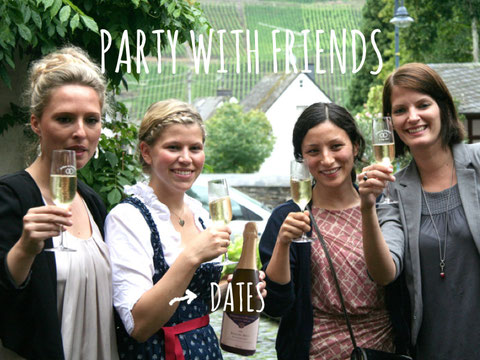 group of girls with sparkling wine