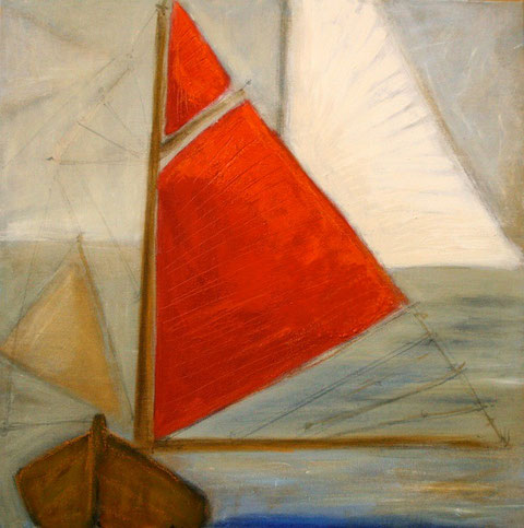 Red Sail - Encaustic + Acrylic on linen 66x66cm