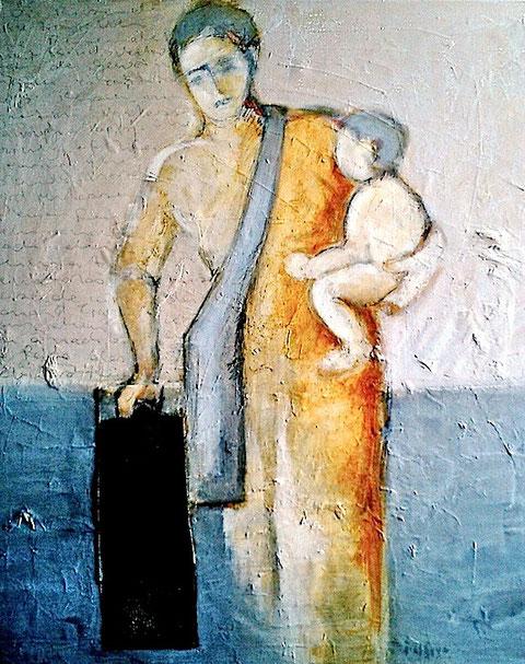 Traveller ( Die Reisende) - Mixed media on canvas 91x101cm