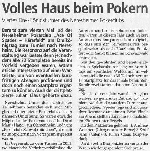 Schwäbische Post vom 17.01.2012