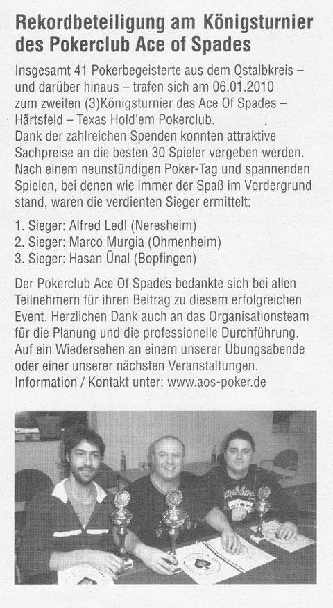 Neresheimer Nachrichtenblatt vom 13.01.2010