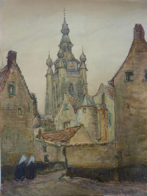 Grande église de Bruges proche du Béguinage, dans les années 1935.