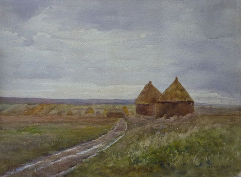 Meules à Chérence, aquarelle exposée en 1906.