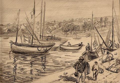 Barques entrant dans le port, peut-être Honfleur ou Dieppe.