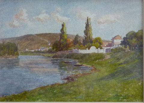 """Aquarelle des bords de la seine vers 1900. Grâce à notre ami Mathieu De ....  nous savons maintenant qu'il s'agit du """"Château""""de Vétheuil en fait."""