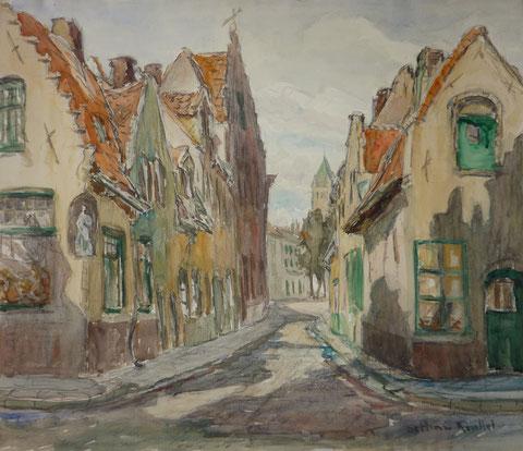 Une rue du centre de Bruges dans les années 1930.