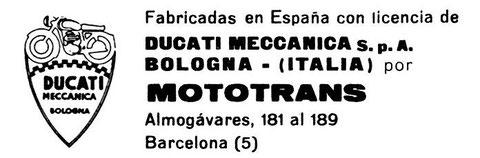 Anuncio de Mototrans con licencia Ducati Meccanica en 1969