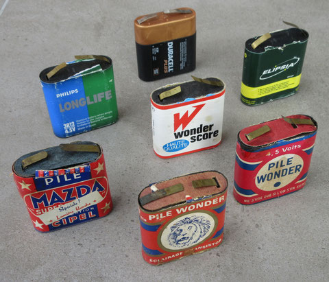 vintage tin toy battery space car tank mazda pile wonder