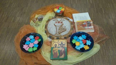 Gestaltetes Element zum Thema Erstkommunion
