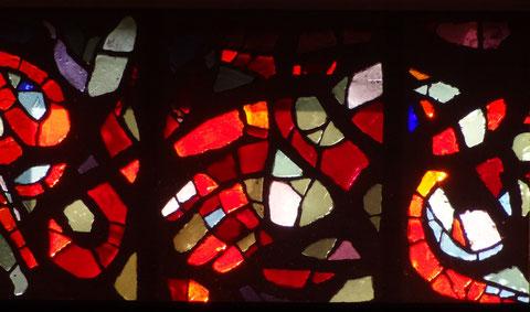 Ausschnitt aus dem Glasfenster, Eingang Pfarrkirche Altenstadt